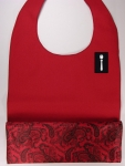 Dark Red Textured BossBib with Vintage Paisley Red/Black Lining